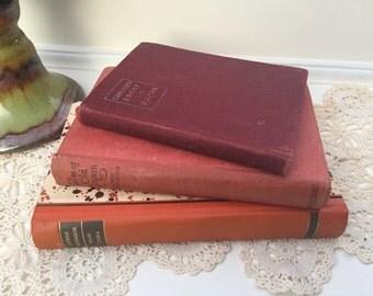 Vintage Books, decorative books, Book Decor, boho chic decor, bohemian Decor, home decor, old book stack, rustic decor, small books, orange