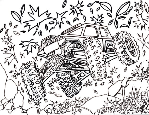 5 Traxxas Summit Coloring Pages Drawing Truck 4x4 RC Crawler Car Book Digital Download Art Doodle Cartoon Custom