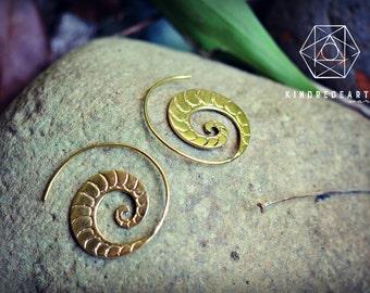 Tribal Nautilus Earrings, Sacred Geometry, Brass Jewelry, Tribal Earrings, Indian Jewelry, Ethnic Jewelry, Bohemian Jewelry, Yoga Jewelry