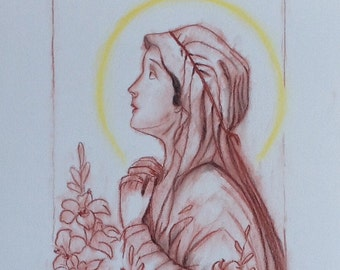100% Handmade Young Mary Drawing, Catholic Religious Drawing, Portrait of Saint, Pencil Pastel Paper, Unique Gift, Virgin Mary, Mother Mary