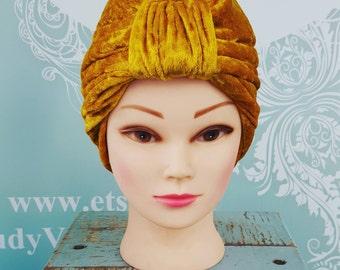 Handmade Vintage Retro Turban in Gold Crushed Velvet