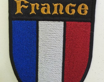 """French Crest """"France"""" Embroidered Patch - Iron or Sew On"""