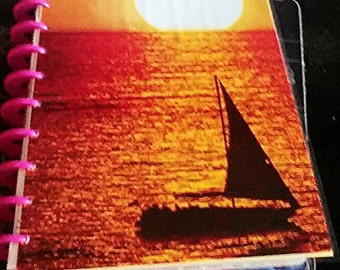 FREE SHIPPING!!SALE!! Happy planner cover sunset over the ocean with a sailboat