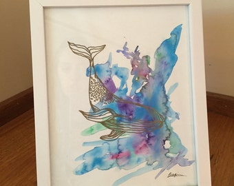 Watercolour Whale Drawing