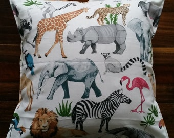 Safari, African animal, colourful cushion cover