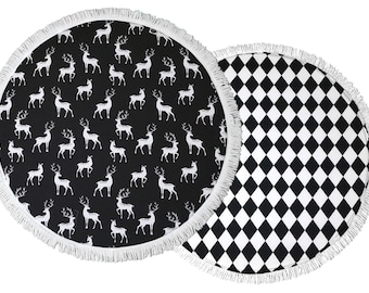 SALE Baby Play Mat / Padded Play Mat / Black And White Playmat / Monochrome Floor Mat / Black Deers / Black Diamonds / Baby Gift / Baby Rug