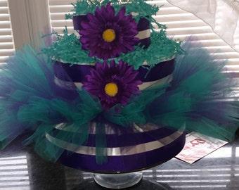 Princess- Tiara- Teal- Dark purple- diaper cake