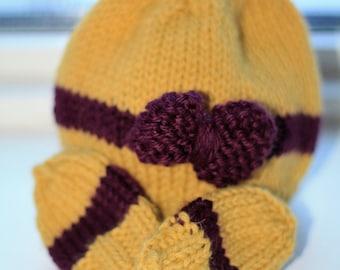 Newborn Baby hat with Mittens