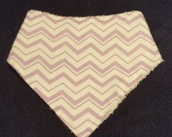 Light Purple Chevron Bandanna Bib With Terrycloth Backing