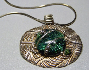 Silver & Green Dicroic Glass