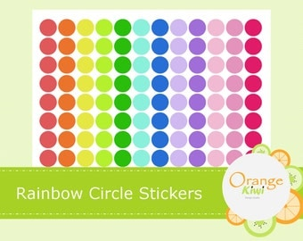 Rainbow Circle Planner Stickers - Colorful Circle Stickers