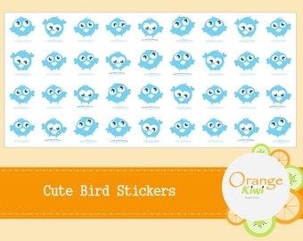 Cute Baby Bird Stickers - Planner Stickers - Blue Bird Stickers