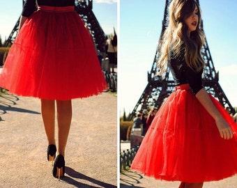 Red Tulle Tutu Midi Full Skirt