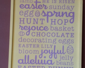 Easter Plaque Sign Subway Art Word Collage