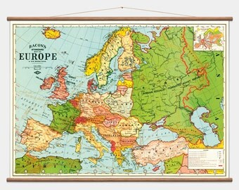 Pull Down Wall Map - Europe