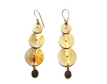 Labradorite Dangle Earrings- Dangle Earrings- Brass Earrings- Labradorite Earrings