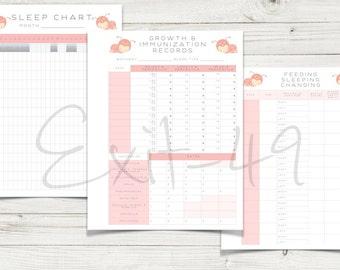 Printable Baby Chart Package  DIGITAL DOWNLOAD Adorable Ladybug Theme