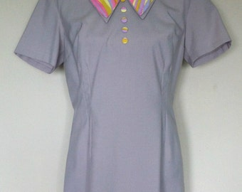 Original 1960's Grey/Multi Stripe Dress