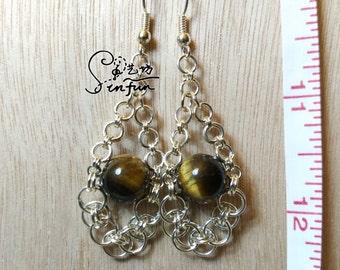 hand made tiger-eye earrings
