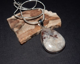 Lace Agate Handmade 925 Sterling Silver Pendant Chain Necklace Cabochon Gemstone