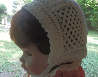 French vintage baby's bonnet hand crocheted