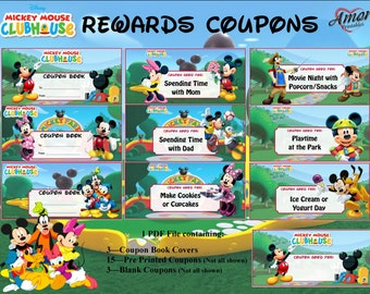 Mickey Mouse Rewards Coupons; Printable Rewards; Kids Rewards; Printable Coupons