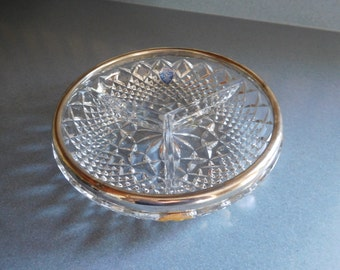 Genuine Lead Crystal Relish/candy dish with F.B.Rogers Silver Company Trim