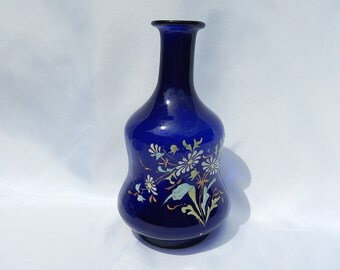 Old blue jug blown enameled