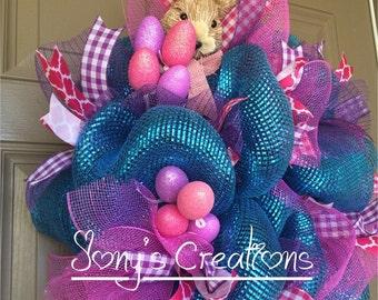 Easter bunny wreath, easter wreath, spring wreath, easter deco mesh wreath
