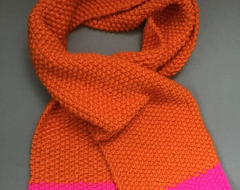 Hand knitted 100% merino wool seed stitch colour block super chunky scarf