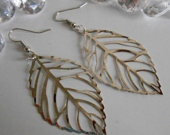 Leaves watermarked Silver earrings