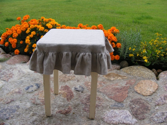 Ruffled Stool Seat Covers Linen Chair Cover Bar Stool