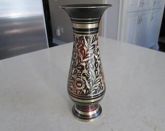Black Brass Etched Vase