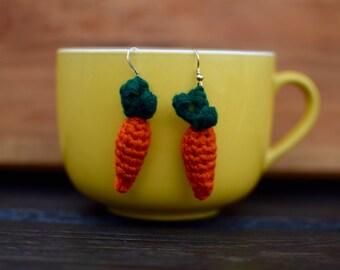 Crocheted Carrot Earrings