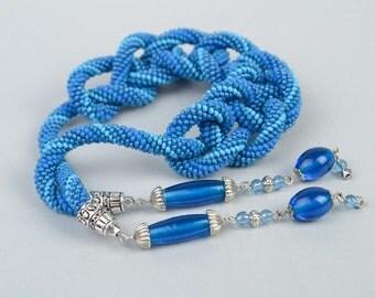 Handmade lariat blue beaded necklace made of Czech glass
