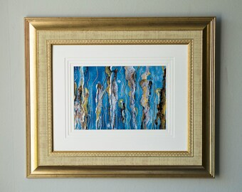 Fine Art Painting- Mixed Media with 3D effect- Modern and Contemporary.  Mermaid Dreams - 11.5 in x 13.5 inch framed and matted