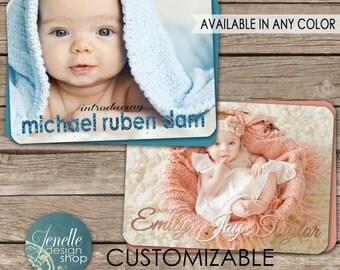 Birth Announcement OR Birthday Invitation postcard - printable card