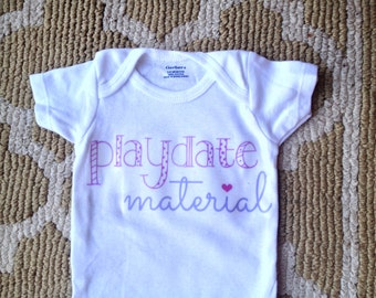 Playdate material onesie purple and periwinkle, Perfect babyshower gift