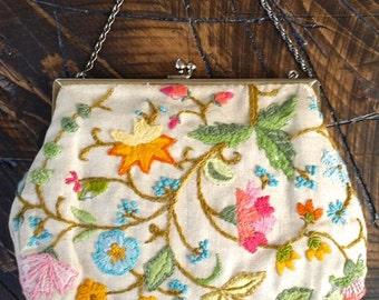 Vintage Floral Crewel Embroidered Handbag Purse