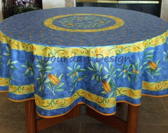 French CIGALE BLUE Acrylic Coated 70 Inches Round Tablecloth   French  Oilcloth Stain Resistant Indoor Outdoor