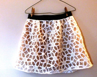 Flower skirt with PU