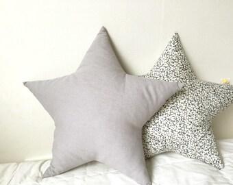 grey linen star cushion