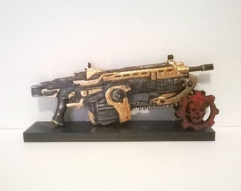 Customized replica inspired in Lancer Gears of War 3D printed 16 cm (6.3 in) or 21.5 (8.4 in)