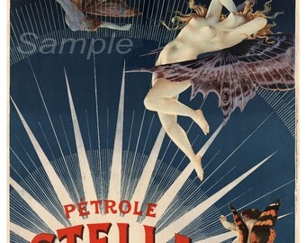 Vintage Petrole Stella Fuel French Advertising Poster Print