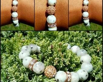10 mm Kiwi Jasper w/Pink Pave Crystal Diamond Bead Bracelet Healing Balancing Gemstones Women Semi Precious