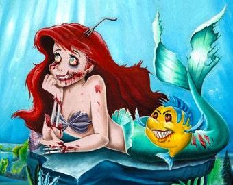 ariel little mermaid zombie disney scary painting pencil print art artwork horror
