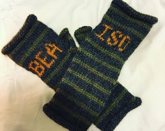 Monogrammed hand knit striped fingerless gloves || personalized || choose your colors || extra long