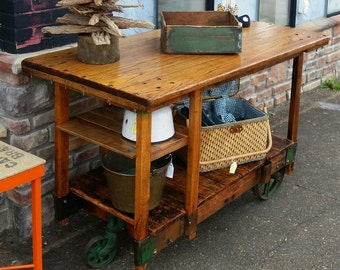 Industrial Factory Cart  Kitchen Island / Entry Table