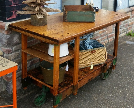 Industrial Factory Cart Bar Table Island