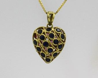 Heart Pendant  Sapphire Heart Pendant Pink Blue Sapphire Heart Pendant 14k Yellow Gold